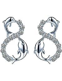90a310ac3285 Infinite U Fashion - Pendientes de plata de ley 925 con circonita cúbica y  delfín infinito