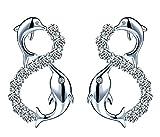 Infinite U moda in argento Sterling 925con zirconi infinity delfino orecchini donna, orecchini, argento