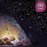 """Stickers muraux Wandkings """"250 unités d'étoiles et étoiles filantes dans le firmament"""" fluorescents et lumineux dans l'obscurité"""