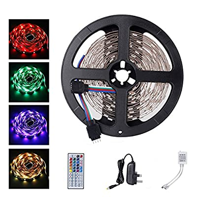 ALED LIGHT 5050 RGB Colour Changing Led Strips Lights Rope Lights with 44Key IR Remote Controller UK Plug Adapter Power Supply for Home lighting and Kitchen Decoration