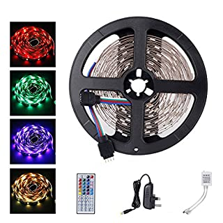 ALED LIGHT® 5050 LED Strip Set 16.4 ft 5M 150 SMD RGB Non-Waterproof Colour Changing LED Rope Light with 2A Power Supply+IR Receiver 44 Key Remote Controller for Home and Outdoor Light Decoration