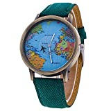 Sanwood Damen Weltkarte Zifferblatt Denim Stoff Gurt Armbanduhr Grün