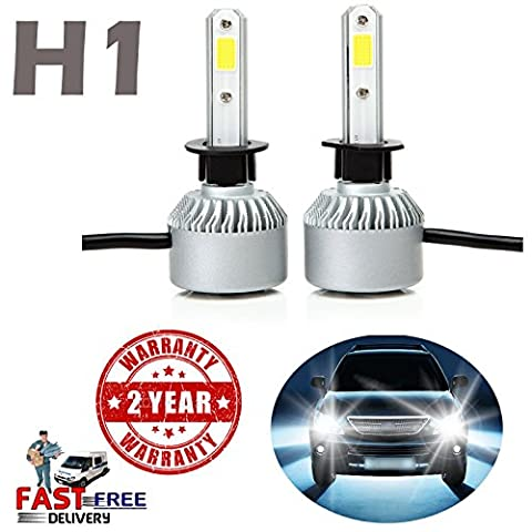 H1 LED Headlight Bulbs 8000LM High Power 6000K Diamond White Driving Light Lamps Replace Fog Light/High Beam/Low Beam All-in-One Conversion Kit Plug and Play - 2 Year Warranty UK Ship (Pair)