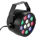 Lixada 15W 12LEDs RGBW Sound Activate DMX-512 LED Stage PAR Light Strobe Professional 8 Channel Party Disco Show