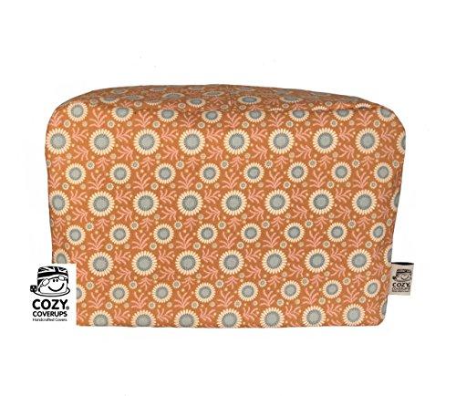 Cozycoverup Housse anti-poussière pour grille-pain en terre cuite Motif floral Orange 4 tranches XL 20 cm (H) x 30 cm (D) x 30 cm (L)