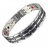 SSC Magnet Armband Edelstahl | silber poliert/schwarz | Magnetarmband (2000+ Gauss) | antiallergener Schmuck (316L Chirurgenstahl) | Ideal als Geschenk (SSC-225)