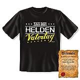 Vatertag Geschenke Set für Papa Väter Vatertagsgeschenk Cooles T-Shirt Tag der Helden Vatertag - Geschenk und Vater Urkunde Gr. 3XL in Schwarz :)