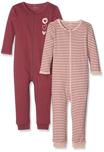 NAME IT Baby-Mädchen Schlafstrampler NMFNIGHTSUIT 2P Zip Dry Rose NOOS 2er Pack, Mehrfarbig, 104