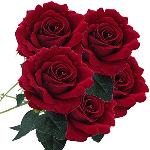 Rosen Künstliche Blumen YURIO 5 Stücke Künstliche Seide Gefälschte Blumen Rose Blume Hochzeit Bouquet Home Decor Dunkelrot Deko Kunstblumen Künstliche Rose Silk Blumen Hochzeitsblumenstrauß (D) (Blumen Lavendel Bulk)
