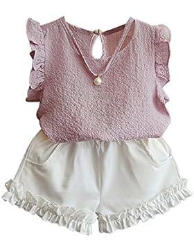 Brightup 3-8 anni ragazzi ragazza camicetta blu + pantaloncini bianchi, estate abiti vacanze set vestiti