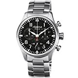 Alpina Men's Quartz Watch with Black Dial Chronograph Display and Silver Stainless Steel Bracelet