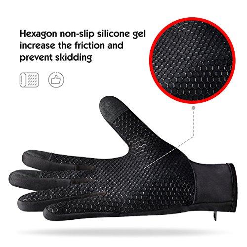 Touchscreen Handschuhe für Herren und Damen Winter Outdoor Winddicht Handschuhe mit Anti-rutsch Silikongel Warm Für Radfahren Skifahren Sports Smartphone/Tablet by Kungber – (XL, Schwarz) - 2