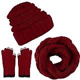 Aneco Winter Warm Beanie Knitted Beanie Hat And Gloves Set Set di Sciarpe e Guanti per Uomo e Donna (Borgogna)