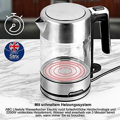 Glas-Wasserkocher-Edelstahl-ABC-Lifestyle-1-Liter-Wasserkocher-Klein-mit-schneller-Heizung-2200W-BPA-frei-Lebensmittelqualitt-Teekocher-Trockengehschutz-automatische-Abschaltung
