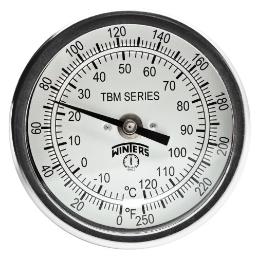 Winters TBM Series Stainless Steel 304 Dual Scale Bi-Metal Thermometer, 9 Stem, 1/2 NPT Fixed Center Back Mount Connection, 3 Dial, 0-250 F/C Range by Winters (Back Mount Npt)