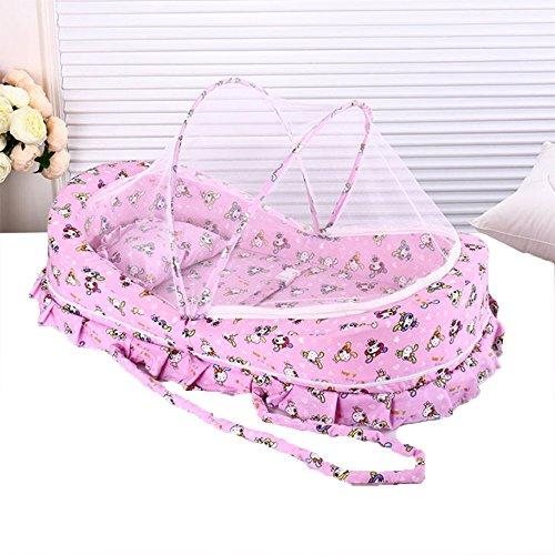 LINAG Baby Krippe Moskitonetz Portable Faltbare Travel Bed Bassinet Babybett Tragbares Multifunktionale Reisebett Sommer ,Pink