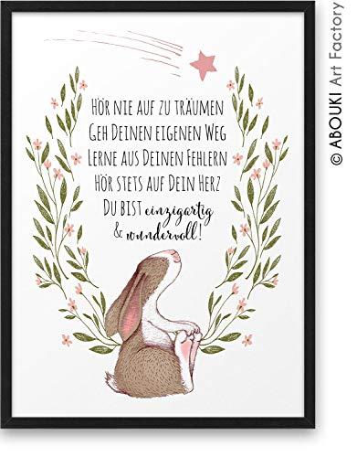 HASE Hör nie auf zu träumen ABOUKI Kunstdruck - ungerahmt - Geschenk-Idee Taufe Geburt Geburtstag Weihnachten für Kinder Junge Mädchen Baby DIN A4