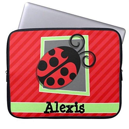 geordiet niedlicher Marienkäfer-Scarlet Rot Streifen Design Wasserdicht Neopren Laptop Computer Ärmel 25,4cm Scarlet Zip