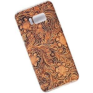 Samsung Galaxy S8 Plus Protective Slim Case. Tasche Cover. Tooled Leather Pattern.
