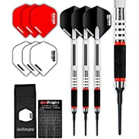Red Dragon Evos - 90% Soft Tip Tungsten Steel Darts Set with Winmau Rhino Flights, Shafts, Wallet Checkout Card