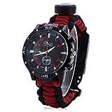 Orologio di sopravvivenza/emergenza Unisex  Con paracord, bussola, fischietto, raschiatore avviamento fuoco, orologio analogico, dispositivo di sopravvivenza, resistente all'acqua, cinturino regolabile, Black Red