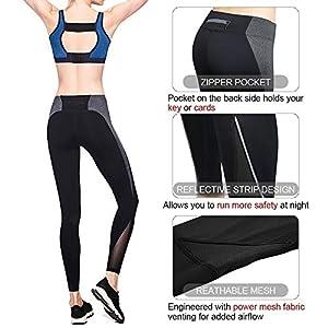 4f11f38a65bbf Zenwow Women High-Waist Gym Sport Leggings,Mesh Yoga Pants with Back Zipper  Pockets