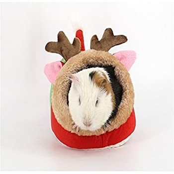 Miyare Lit Nid Animaux Naissant avec Rideaux en Velours Côtelé Flanelle pour Chats Chiens Cochon Néerlandais Hamster (S, Faon)