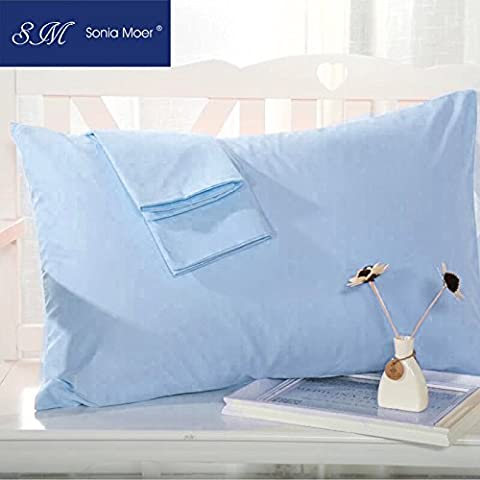 Set of 2 Premium 50% Cotton 50% Polyester 200 Thread Count Pillow Cases by Sonia Moer, (Sky Blue)