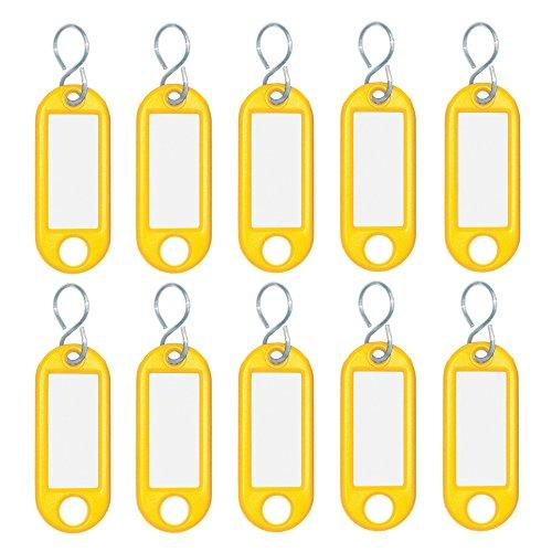 Wedo 262103405 Schlüsselanhänger Kunststoff (mit S-Haken, auswechselbare Etiketten) 10 Stück, gelb