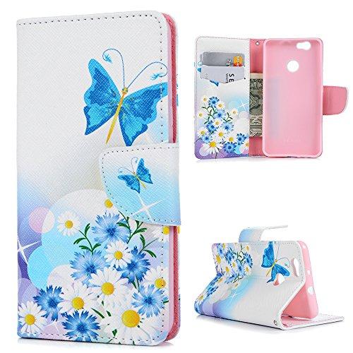 Preisvergleich Produktbild Huawei NOVA Hülle,KASOS Huawei NOVA Case Bunt Gemalt Book Type PU Leder +TPU Innere Tasche Brieftasche Etui und Magnetverschluss Ledertasche Schutzhülle Cover Handyhülle,Schmetterlinge und Blumen