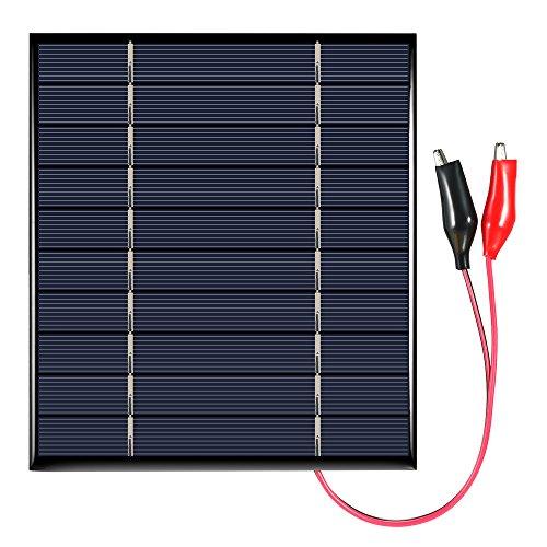 Decdeal Solarpanel Solarmodul Solarzelle Photovoltaik mit Krokodilklemmen 2.5W 5V