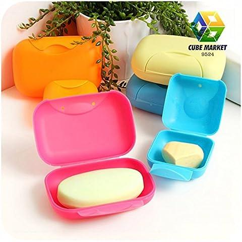 Starvy (TM) Caso Bagno piatto del piatto di casa doccia viaggio escursionismo del contenitore di Soap Box (colore casuale)
