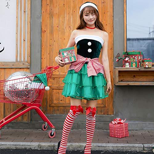 HaIIeed Traje Cosplay Navidad Elfo Verde Oscuro Lindo