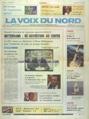 VOIX DU NORD (LA) [No 13669] du 15/06/1988 - ROCARD FORMERA LE NOUVEAU GOUVERNEMENT - REOUVERTURE AU CENTRE POUR MITTERRAND - UN ULTIMATUM A MEHAIGNERIE - FABIUS CANDIDAT A LA PRESIDENCE DE L'ASSEMBLEE - LES CENTRISTES AU PIED DU MUR PAR MINART - LES SPORTS - FOOT - VOILE AVEC POUPON - REGIS ROUSSELLE NOUVEAU PRESIDENT DE LA SBF - ARIANE - 1ER TIR DE LA VERSION 4