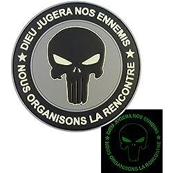 Punisher DIEU JUGERA NOS ENNEMIS Glow Dark ACU Marine Navy Seals DEVGRU PVC 3D Attache-boucle Écusson Patch