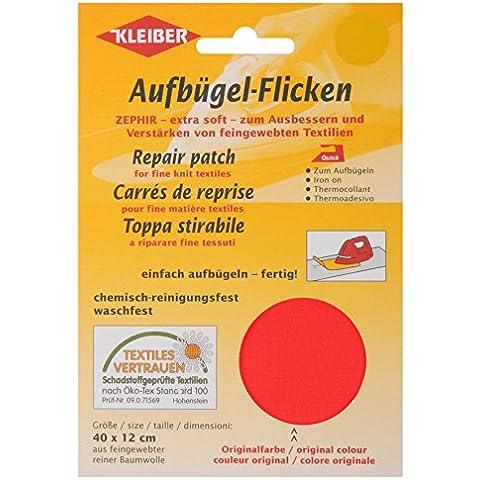 Kleiber - Toppa per riparazioni termoadesiva in cotone 40 x 12 cm per tessuti a maglia fine, rosso