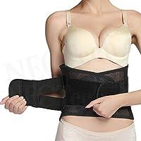 Faja de espalda ULTRA LIGERA - Cinturón de apoyo lumbar / para la postura - Tejido transpirable para el ejercicio - Compresión adaptable para el alivio del dolor lumbar - Marca NEOtech Care ( TM ) - Color Negro - Talla S