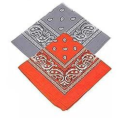 Set of 2 Paisley Bandanas - Grey and Orange Bandannas scarf / Hankerchief / Head tie / Neck Tie / Neckerchief 100% Cotton , For Men, Women & Kids, High quality (Pack of 2)