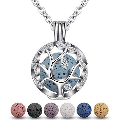 Eudora Baum des Lebens Aromatherapie Kette Halsketten für Frauen Damen Anhänger Aroma Oel Diffuser Charme Schmuck Geschenk Natürlicher Lavastein Perlen Kette 7 PCS,24
