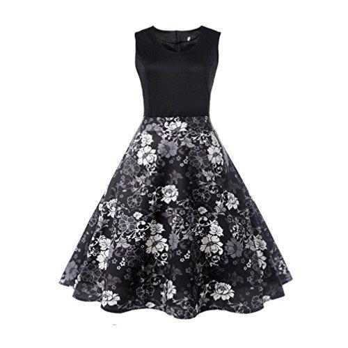 1950er Vintage Polka Dots Pinup Retro Rockabilly Kleid Cocktailkleider Sommer Jumpsuit Kurz Ballkleid Kleiderbügel Damenkleider Kurz (Pin Up Kleider Billig)