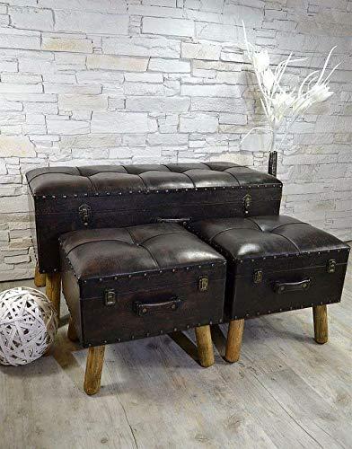 Livitat® Flurbank Sitzbank Sitztruhe Braun Kunstleder 3er Set gepolstert Vintage NEU LV2080