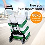 Finether Hand Truck Dolly Folding Trolley Truck Aluminium Alloy Hand Trolley Truck 80kg Capacity Folding Storage Cart for Indoors Outdoors Travel Home Grocery with 1 Bungee Cord Black