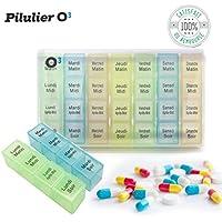 O³ Pilulier Journalier - Pilulier Semainier Francais - 4 compartiments par jour pour 7 jours