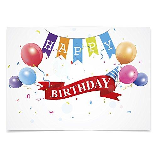 5 x Geburtstagskarte (Happy Birthday Ballons) mit Umschlägen im Set, DIN A6 zum Geburtstag - Karte, Postkarte, Brief, Quer - Brief X Ballon
