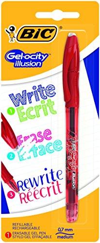 BIC Gel-ocity Illusion Bolígrafo de Gel Borrable punta media (0,7 mm) - Rojo, Blíster con 1 Unidad