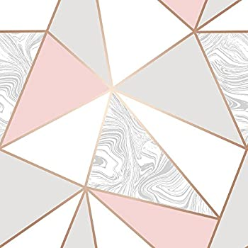Fine Decor FD41993 Uk Apex Geo Sidewall Wallpaper, Rose ...