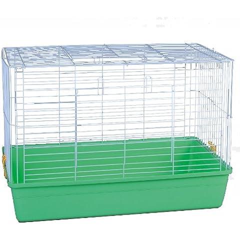 LITTLE FRIENDS Zeon - Jaula para conejos (68 x 44 x 40 cm, con plataforma), base color verde