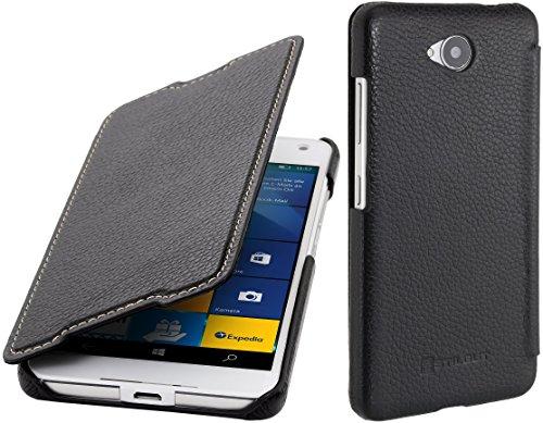 StilGut Book Type Case ohne Clip, Hülle aus Leder kompatibel mit Microsoft Lumia 650/650 Dual SIM, Schwarz