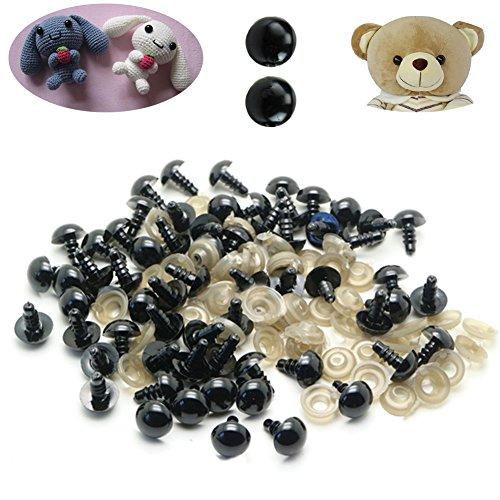 chengya schwarz Kunststoff Sicherheit Augen mit Unterlegscheiben für Teddy Bär Puppen Handpuppe Filzen Crafts 100Stück, schwarz, 8 mm (8 Bär Teddy)