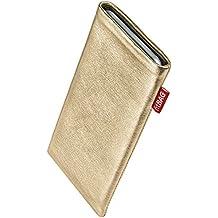 fitBAG Groove Dorado - Funda a medida, Exterior de cuero foil genuino nappa, con forro interno de microfibra, para Elephone M1